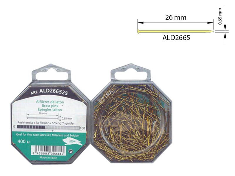 Alfiler latón, Caja de 400 unidades, Ref ALD266525