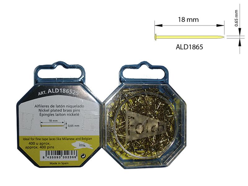 Alfiler latón, Caja de 400 unidades, Ref ALD186525