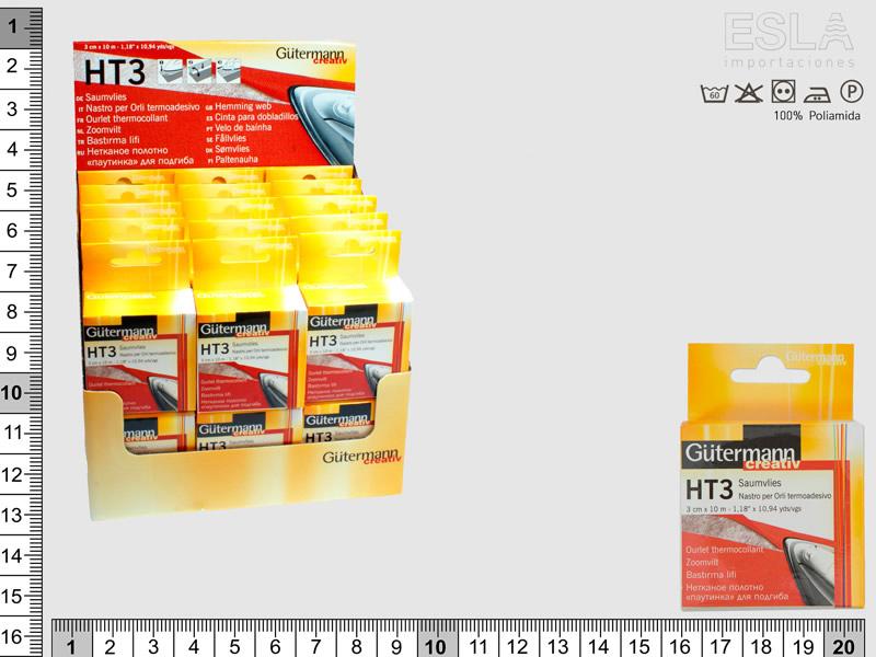 Expositor Cinta termoadhesiva HT3, 3cm x 10m, 30 cajas Guetermann, Ref HT3-EXP