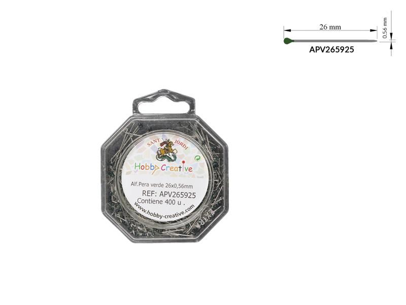 Alfiler cabeza de pera, Cabeza Verde, Caja de 400 unidades, Ref APV265925