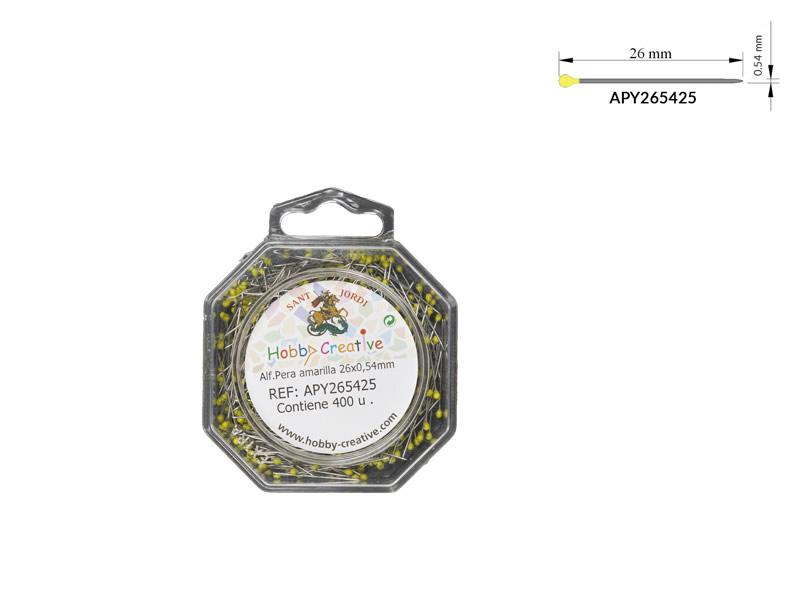 Alfiler cabeza de pera, Cabeza Amarilla, Caja de 400 unidades, Ref APY265425