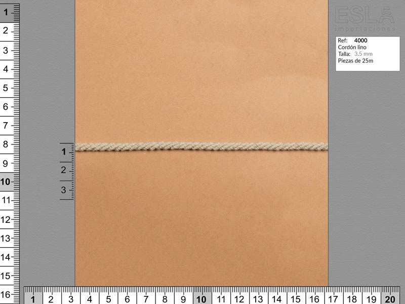 Cordón lino, Color natural, 3.5mm, Ref 4000