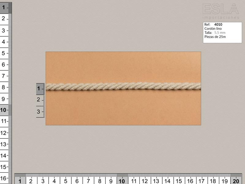 Cordón lino, Color natural, 5.5mm, Ref 4010