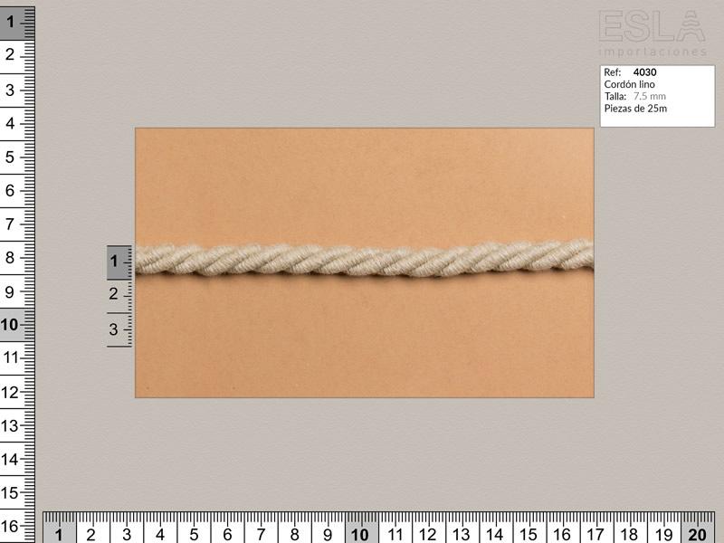 Cordón lino, Color natural, 7.5mm, Ref 4030