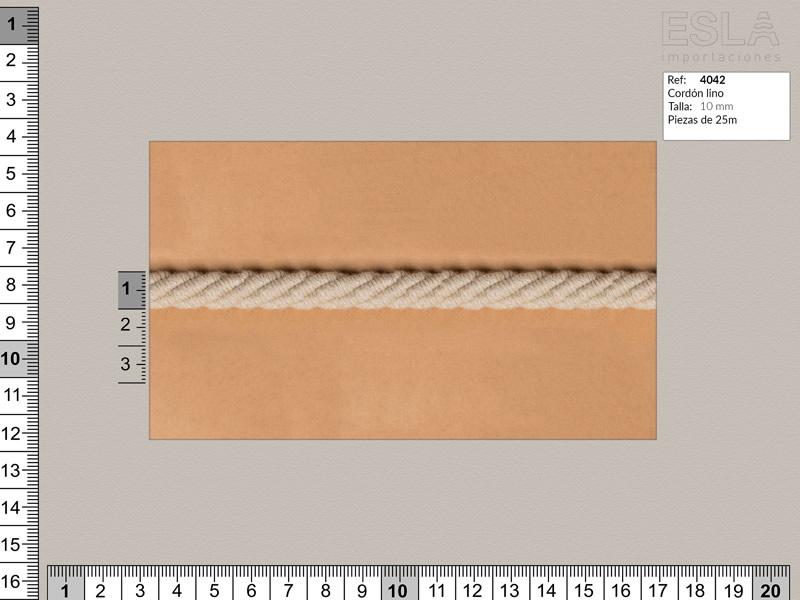 Cordón lino, Color natural, 10mm, Ref 4042