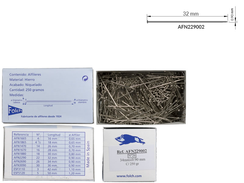 Alfiler hierro, nº22, Caja 250gr, Jabali, Ref 229002