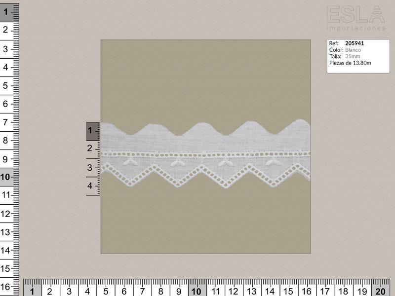 Tira bordada, Blanco, Ref 205941