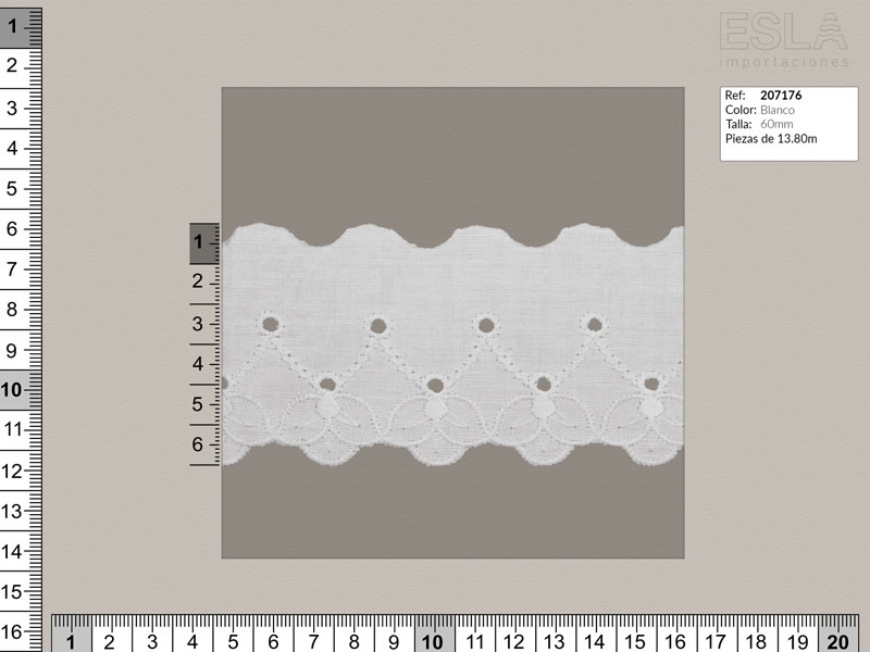 Tira bordada, Blanco, Ref 207176