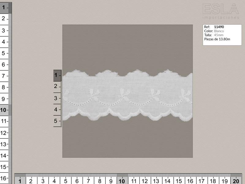 Tira bordada, Blanco, Ref 11490