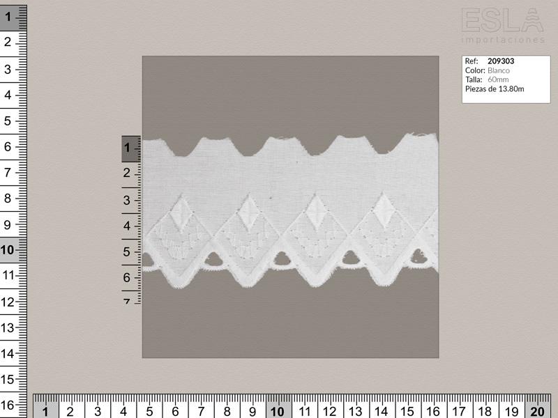 Tira bordada, Blanco, Ref 209303