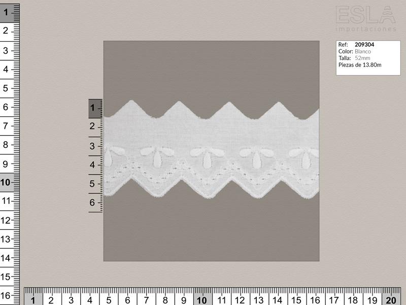 Tira bordada, Blanco, Ref 209304