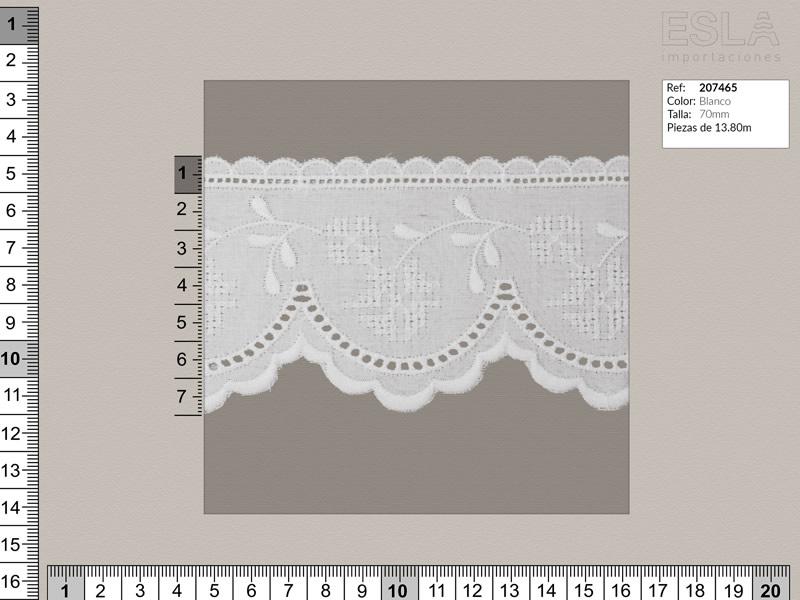 Tira bordada, Blanco, Ref 207465