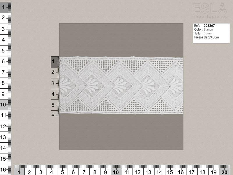 Tira bordada, Blanco, Ref 208367