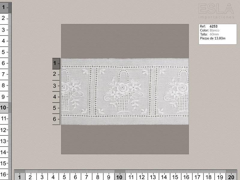 Tira bordada, Blanco, Entredos, Ref 6253