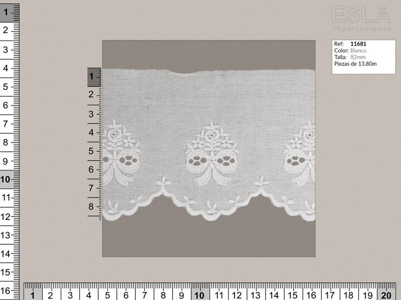 Tira bordada, Blanco, Ref 11681