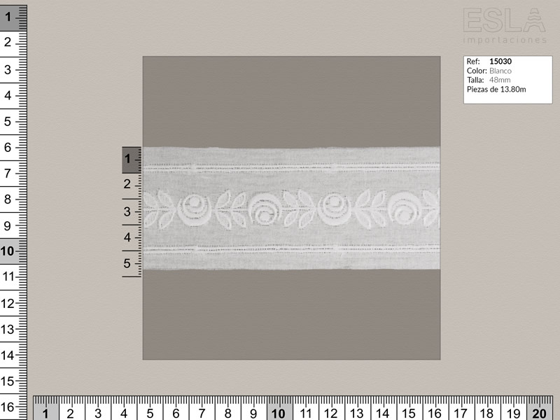 Tira bordada, Blanco, Entredos, Ref 15030