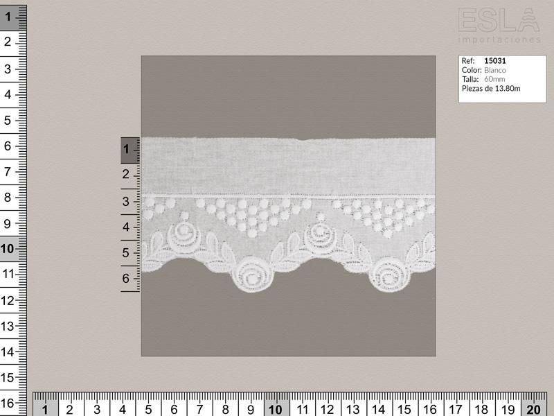 Tira bordada, Blanco, Ref 15031