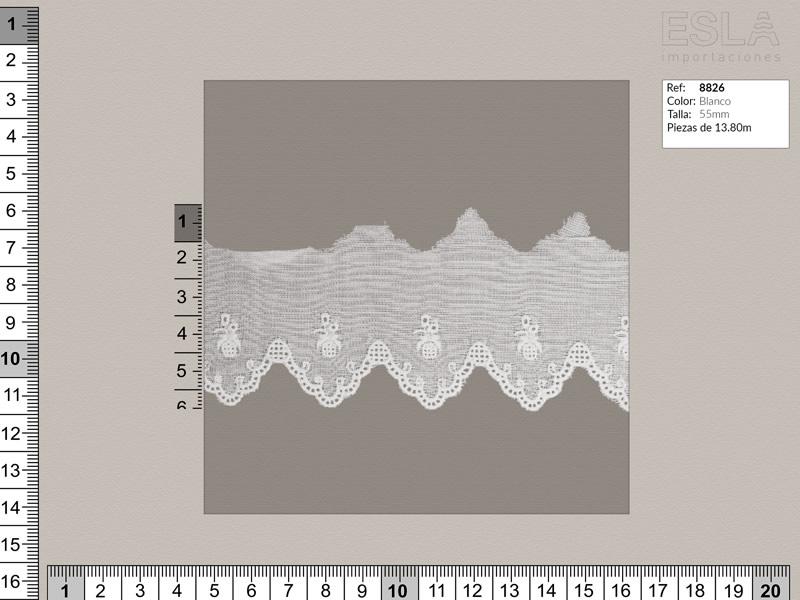 Tira bordada, Blanco, Ref 8826
