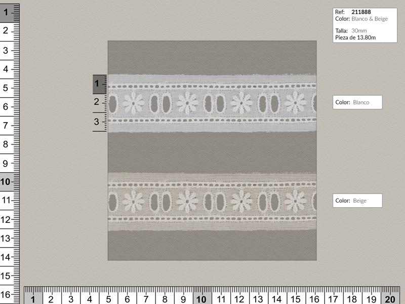 Tira bordada, Blanco y beige, Entredos, Ref 211888