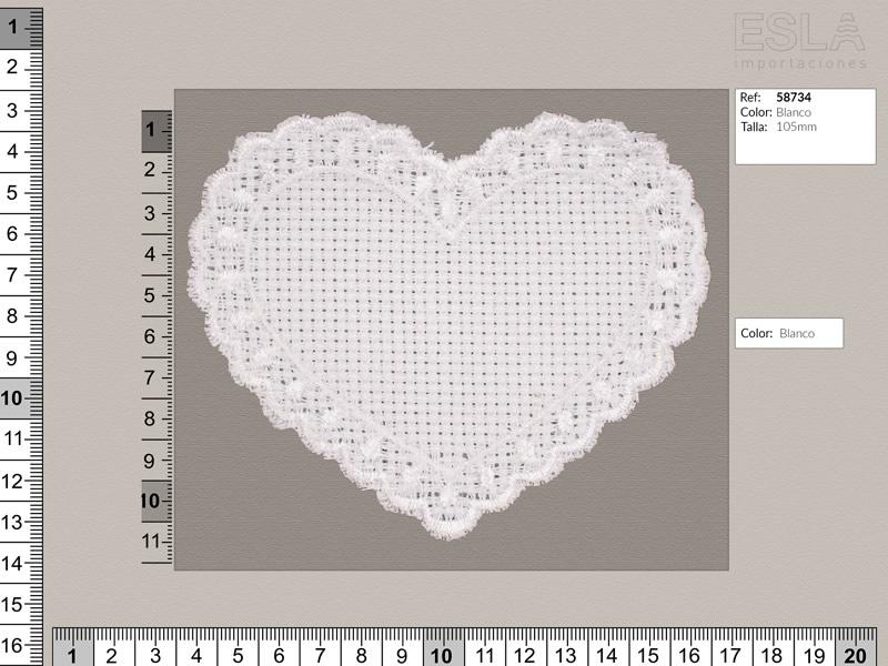 Aplicación bordada, forma de corazon, Blanco, Ref 58734