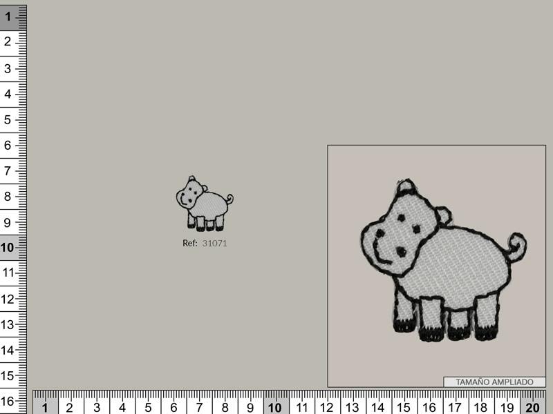 Termoadhesivo hipopotamo, Ref 31071
