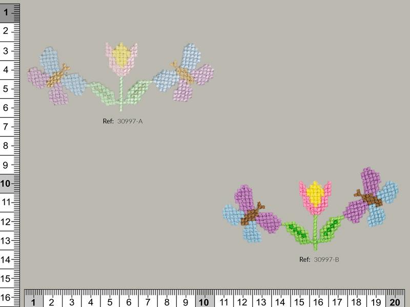Termoadhesivo flores y mariposas, Ref 30997