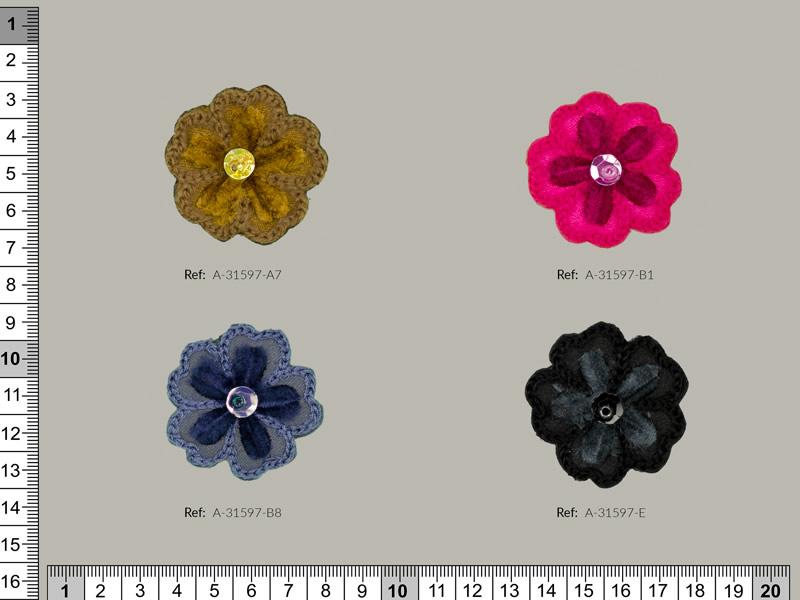 Termoadhesivo flores, 4 colores, Ref A-31597