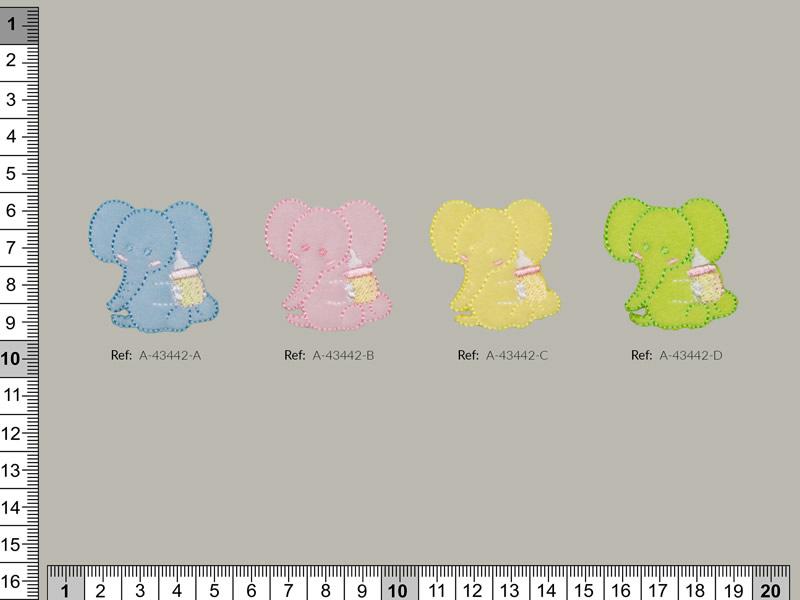 Termoadhesivo elefante, Azul, Rosa, Verde, Amarillo, Ref A-43442