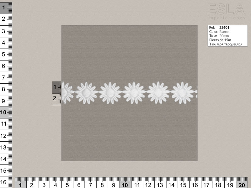 Tira flor troquelada, Blanco, Ref 22601