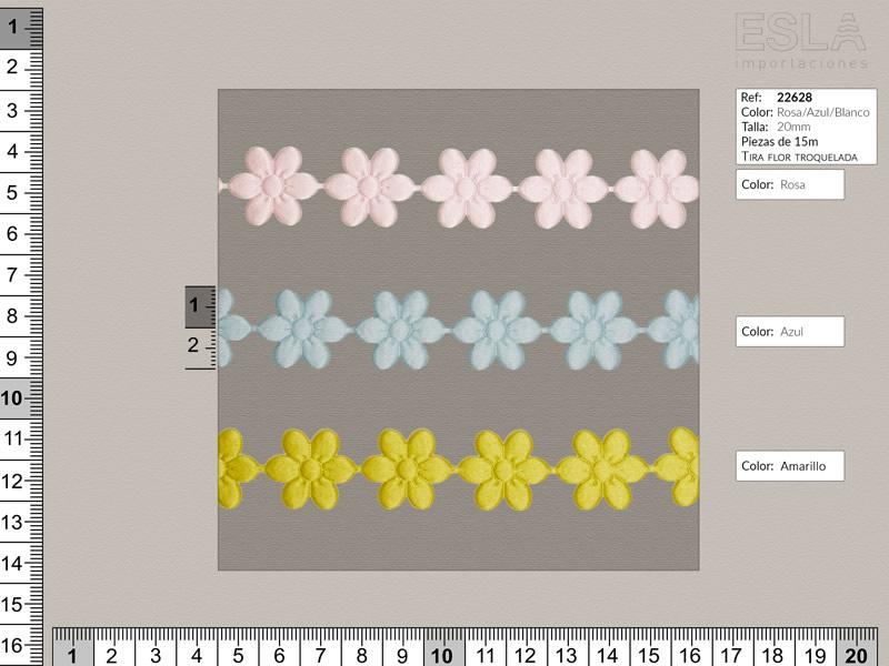 Tira flor troquelada, Azul rosa y amarillo, Ref 22628