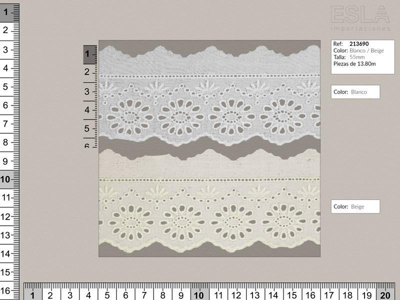 Tira bordada, Entredos, Blanco y beige, Ref 213690