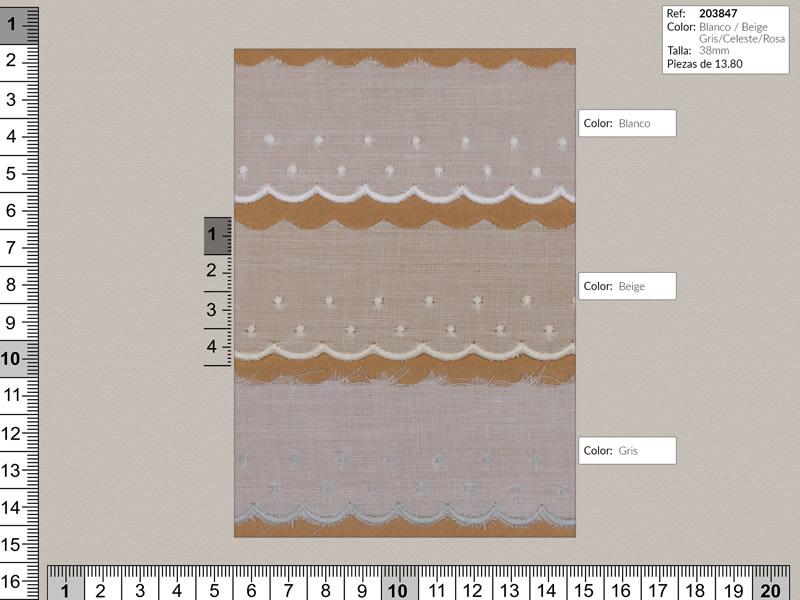 Tira bordada, 5 colores, Ref 203847