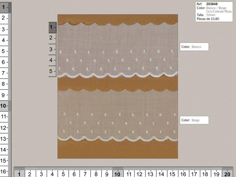 Tira bordada, Entredos, 5 colores, Ref 203848