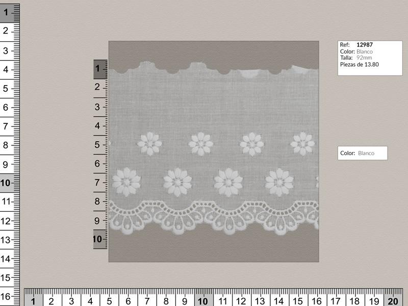 Tira bordada, blanco, Ref 12987