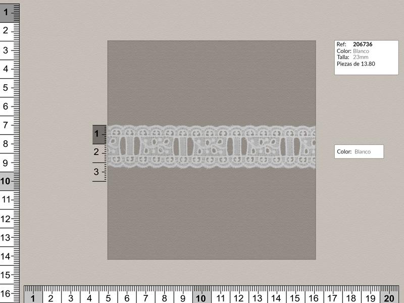 Tira bordada, Entredos, blanco, Ref 206736