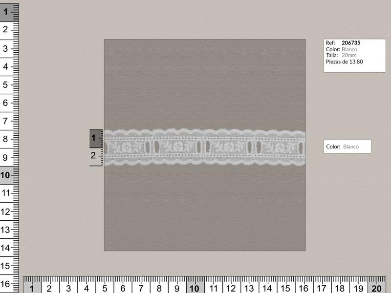 Tira bordada, blanco, Ref 206735