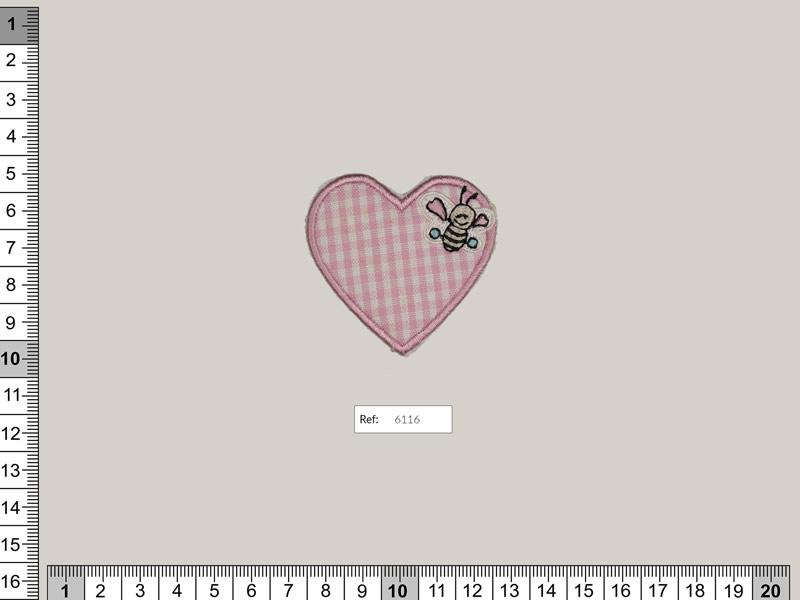 Termoadhesivo corazón, vichy, Ref 6116-A