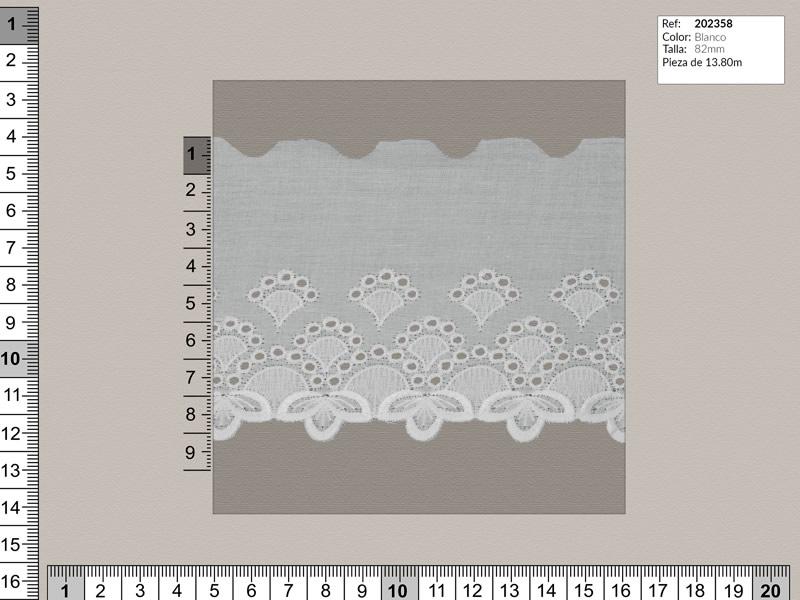 Tira bordada, Blanco, Ref 202358
