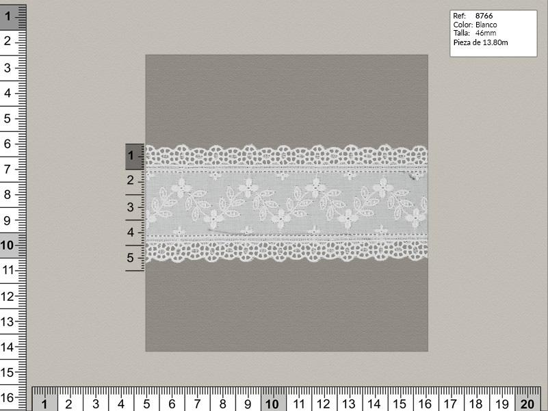 Tira bordada, Blanco, Familia 8764, Ref 8766