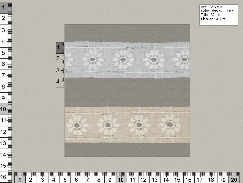 Tira bordada, Blanco y beige, Familia 217607, Ref 217607