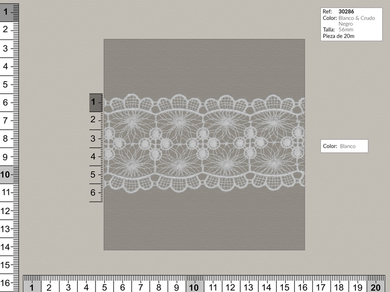 Guipure algodón, blanco beige y negro, Ref 30286