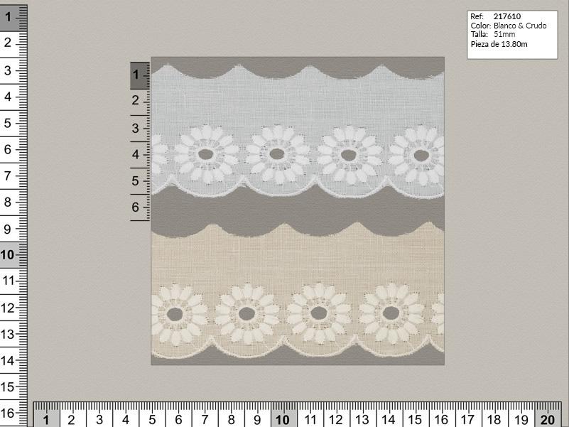 Tira bordada, Blanco y beige, Familia 217607, Ref 217610