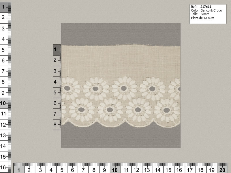 Tira bordada, Blanco y beige, Familia 217607, Ref 207611