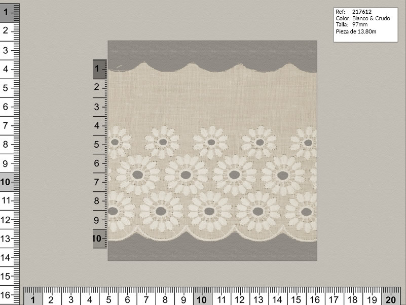 Tira bordada, Blanco y beige, Familia 217607, Ref 217612