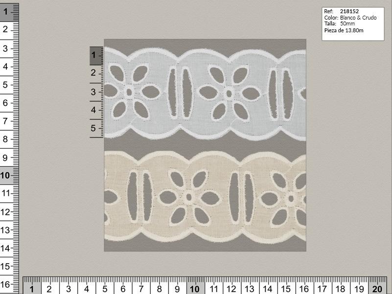 Tira bordada, Blanco y beige, Familia 216196, Ref 218152