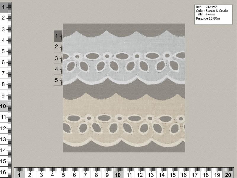 Tira bordada, Blanco y beige, Familia 216196, Ref 216197