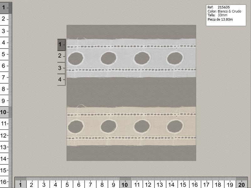 Tira bordada, Blanco y beige, Familia 215635, Ref 215635