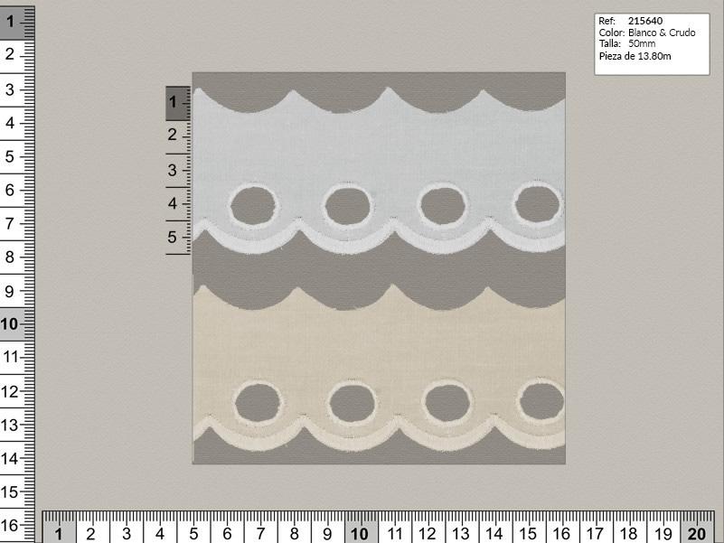 Tira bordada, Blanco y beige, Familia 215635, Ref 215640