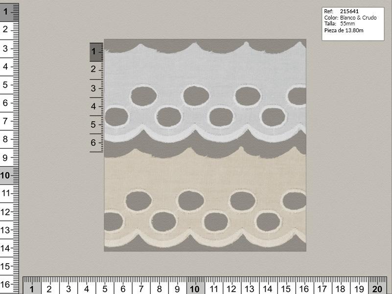 Tira bordada, Blanco y beige, Familia 215635, Ref 215641