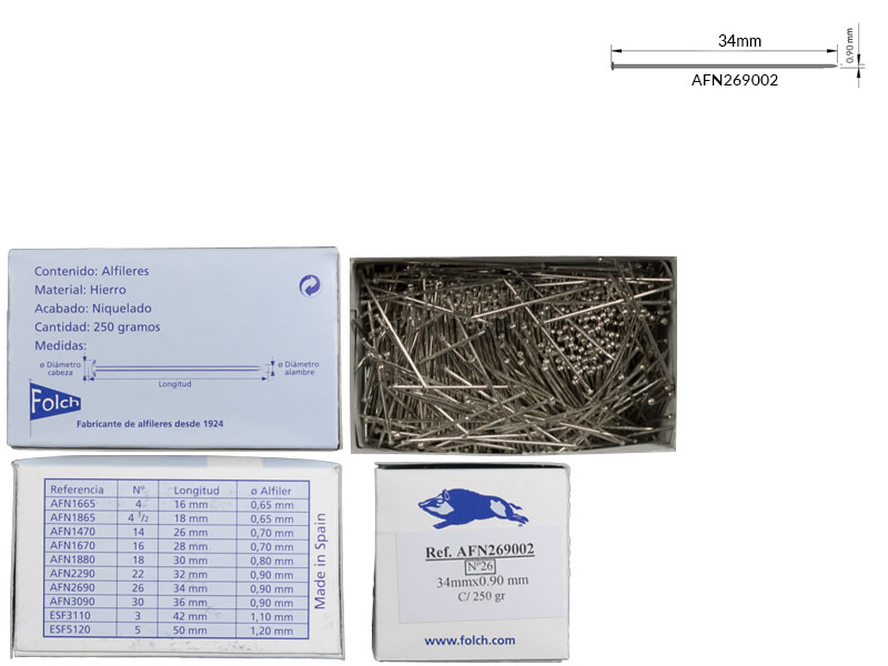 Alfiler hierro, nº26, Caja 250gr, Jabali, Ref 269002